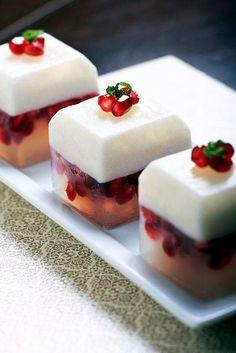 coconut-pomegranate-lime puddings.