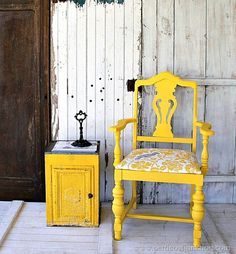 bold and fancy yellow chair with cockatiel fabric seat Petticoat Junktion Chair Makeover, Furniture Makeover, Cool Furniture, Furniture Ideas, Furniture Refinishing, Refurbished Furniture, Painting Furniture, Furniture Inspiration, Yellow Dining Room