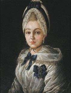 Portrait of an unknown lady in a white cap, by Grigory Serdyukov, 1772.
