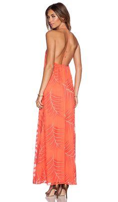 Alice + Olivia Kelly T Back Maxi Dress in Coral | REVOLVE