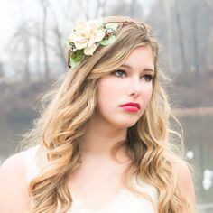 woodland pine cone rose floral hair  crown  'A by serenitycrystal, $40.00