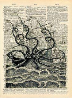 Altered Art Book Print Giant Squid Sea by missquitecontrary Design Graphique, Art Graphique, Le Kraken, Kraken Art, Illustrations, Illustration Art, Monster Illustration, Altered Book Art, Dictionary Art