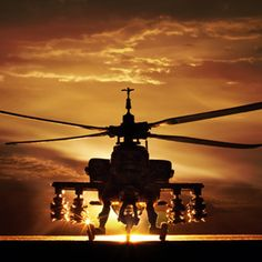 Apache Helicopter.. Sunsets and helicopters just kinda go together.