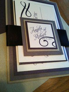 Wedding Invitation 4Layer Eggplant Purple by CreationsBySandyh