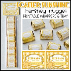 Scatter SUNSHINE Printables, Encouragement Gift, Thinking of You, Chocolate Nugget Wrappers, Hello S Sunshine Printable, Hershey Nugget, Box Of Sunshine, Chocolate Brands, Brochure Paper, Birthday Gifts For Husband, Thinking Of You, Favors, Tray