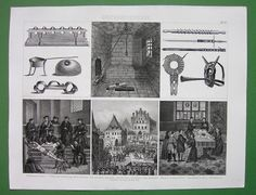 TORTURE Punishment in Middle Ages Devices Execution in Prague - 1870s Vintage Antique Print