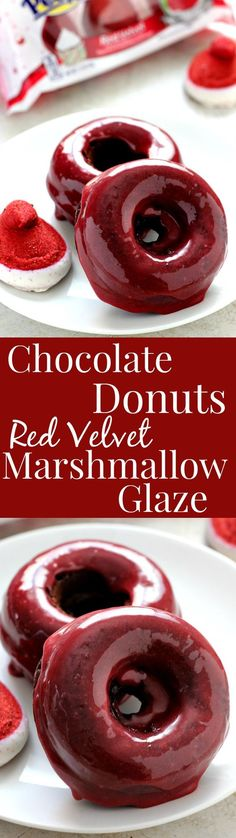 Baked Chocolate Donuts with Red Velvet Marshmallow Glaze easy yet festive treat for the chocolate and red velvet lovers! The post Baked Chocolate Donuts with Red Velvet Marshmallow Glaze appeared first on Daisy Dessert. Delicious Donuts, Delicious Desserts, Yummy Food, Healthy Donuts, Think Food, Love Food, Easy Desserts, Dessert Recipes, Yummy Treats
