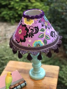 """18"""" tall lamp,purple lamp,lavender lamp,teal lamp,floral lamp,fabric lampshade, tassel trim,fringed lamps,purple and teal bedroom,girls room by HolyChicBoutiqueCo on Etsy #TallLamp"""