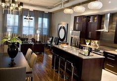 Small Condo Interior Design Ideas, Pictures, Remodel and Decor Small Kitchen Bar, Kitchen Bar Design, New Kitchen Designs, Home Decor Kitchen, Kitchen Living, Living Room, Open Kitchen, Kitchen Ideas, Kitchen Layout