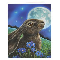 Moon Gazing Hare Card by Lisa Parker