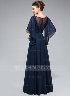 A-Line/Princess Scoop Neck Floor-Length Ruffle Lace Beading Sequins Zipper Up Sleeves Sleeves No 2014 Dark Navy Spring Summer Fall Winter General Plus Chiffon Mother of the Bride Dress Vintage Style Dresses, Lovely Dresses, Elegant Dresses, Vestidos Fashion, Fashion Dresses, Renda Beading, Lace Beading, Beaded Lace, Bridesmaid Dresses Online