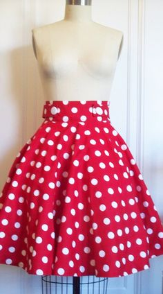 Red and White polka dot Betty circle skirt by AmandaMayfield ......I can't get enough DOTS !!!
