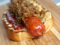 A hearty Portuguese sausage with caramelized onions on KING'S HAWAIIAN Original Hawaiian Sweet Hot Dog Buns
