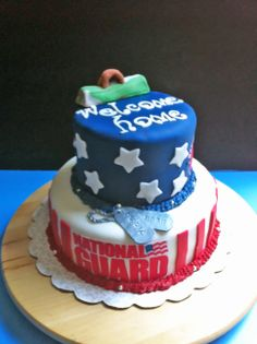 Patriotic Cake , fondant, National Guard, Red , white and blue, flag, dog tags, (Estrada Party)