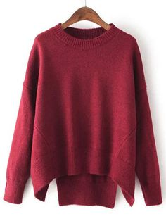 Burgundy Long Sleeve Loose Sweater | Loose sweater, Color red and ...