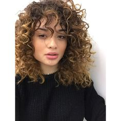 Bangs curly hair ❤ liked on Polyvore featuring beauty products, haircare, hair styling tools, curly hairstyle and curly hair care