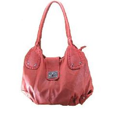 Twist Lock Red Leather Tote Handbag