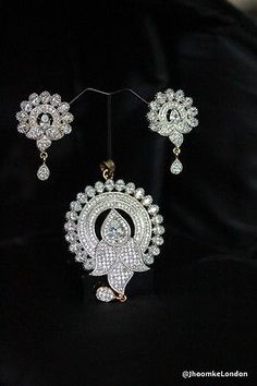 Bollywood pendant set Partywear Indian Golden american diamond jewellery making in Jewellery & Watches, Costume Jewellery, Necklaces & Pendants | eBay