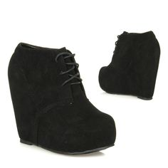 New Lace Up Hidden Platform Ankle Wedge Bootie Boot CAMILLA-1 BLACK #Glaze #FashionAnkle