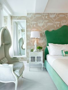 Interior designer Fawn Galli designed this whimsical, sorbet-colored bedroom — which includes a headboard of her own design — for a New York City client.