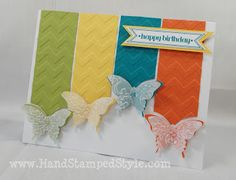 Chevron embossing folder and SU! butterfly punch  Hand Stamped Style