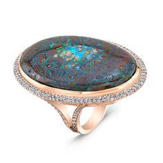 Boulder Opal & Diamond Ring