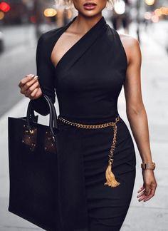 Dasha Modern Dress- Black – Posh Fashion Girls - Women's fashion and Women's Bag trends Black Women Fashion, Look Fashion, Fashion Beauty, Girl Fashion, Autumn Fashion, Fashion Dresses, Womens Fashion, Fashion Trends, Fashion Styles