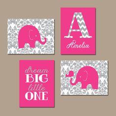 Elephant Nursery Hot Pink Gray Damask Nursery Baby by TRMdesign
