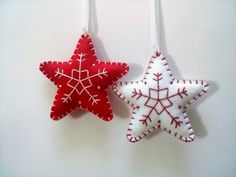 Felt christmas ornaments  set of 2 star ornaments by DusiCrafts