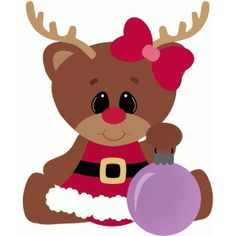 Silhouette Design Store - View Design #49559: reindeer girl christmas ornament