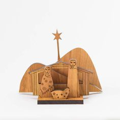 This sweet nativity set is like a small puzzle. Each figure fits in its own spot, and the whole set can be packed back up into its box when the season passes. The base of the nativity set is 4x2.5. Assembled the set is 5 wide, 4 long, and the star is 4 tall. Joseph is 2.5 tall, Mary is 2