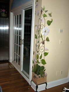 63 Ideas for wall painting mural beautiful Mural Painting, Tole Painting, Mural Art, Wall Murals, Paintings, Wall Design, House Design, Flower Mural, Plafond Design