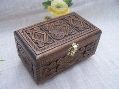 Jewelry box Ring box Carved wood box Wooden box by HappyFlying, $40.00