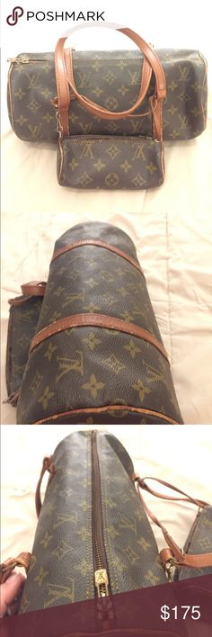 Authentic Louis Vuitton Pappilon 35 and Pouchette Pouchette has a small rip near the zip. Not a canvas tear. Other than his the set is adorable Louis Vuitton Bags Satchels