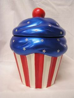 Patriotic Cupcake Jar by whitedovecrafts on Etsy, $15.00  These stripes won't run & are lot's of fun.  Makes a great conversation piece & perfect gift for that special someone.