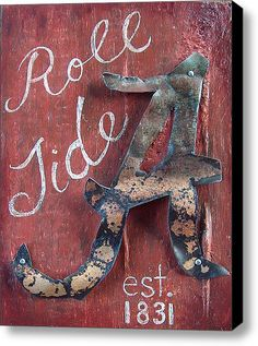 Roll Tide Stretched Canvas Print / Canvas Art By Racquel Morgan