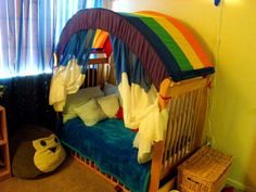 DIY canopy for converted crib/toddler bed.