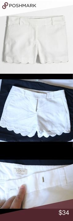 "J. Crew Scallop White Shorts * Linen/cotton. * Sits at waist. * 4"" inseam. * Slant pockets. * Machine wash. * Excellent condition. * Note: no size tag but I have compared to my other j crew Shorts and they are most likely size 4 . J. Crew Shorts"