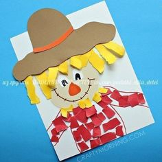Make a torn paper scarecrow craft with your kids for fall time! Great for fine motor skills too. Make a torn paper scarecrow craft with your kids for fall time! Great for fine motor skills too. Preschool Farm Crafts, K Crafts, Fall Preschool, Kindergarten Crafts, Daycare Crafts, Classroom Crafts, Toddler Crafts, Creative Crafts, Crafts With Toddlers
