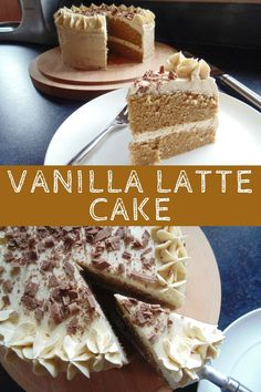 Vanilla Latte Cake, fluffy coffee cake with vanilla coffee buttercream!