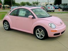 Pink Volkswagen Beetle....the only thing that would make it better is a convertible top
