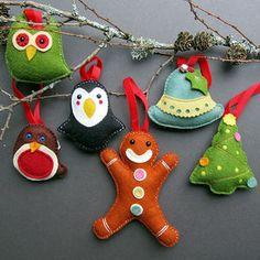 Deluxe Box Of Handmade Felt Christmas Decorations - tree decorations