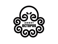 I love the overall shape here. And the two little lines that represent the eye brows and make the octopus look angry. Great use of space.