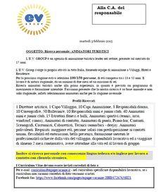 L'E.V. Group per la prossima stagione estiva seleziona 100/150 persone, di età compresa tra i 18 e 35 anni.