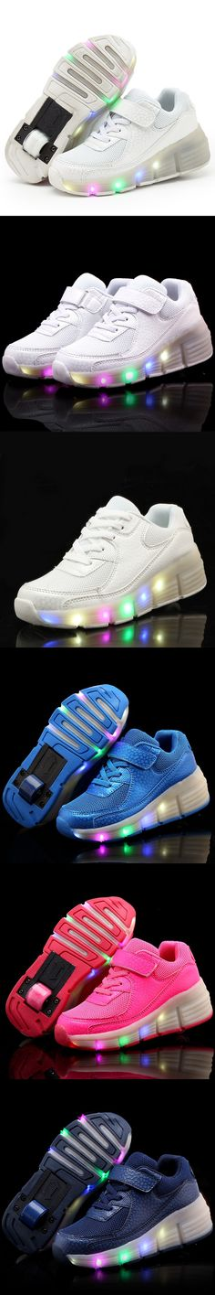 New Child Wheelys Jazzy LED Light Heelys Roller Skate Shoes For Children Kid Junior Boys Girls fashion Sneakers With Wheels