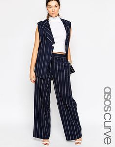 ASOS CURVE Wide Culottes In Pinstripe