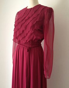 Burgundy Love  |  Only if those sleeves were less translucent. |  TIP: Dark Colours can complement any colour for sophisticated look or as a colour block base. Choose the correct hijab colour. :) |  Burgundy Sleeved Maxi Dress, Google Search