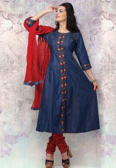 Blue Denim Readymade Anarkali Churidar Kameez @ $86.00