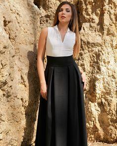 Дълга дамска рокля в черно и бяло - Slalom  #Ефреа #online #онлайн #пазаруване #дрехи #рокля #дълга #черно #бяло