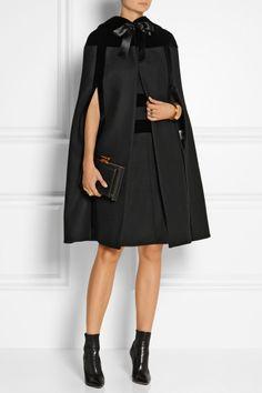 Hooded Velvet-Trimmed Wool Cape, £1,585 | Alexander McQueen